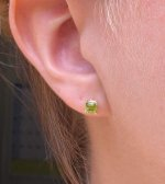 SOLD....Gemstone Earrings:  .88 TW Peridot Earrings Set in 14kt Yellow Gold R2677
