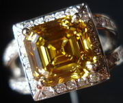 SOLD.... Halo Diamond Ring: 2.81ct Amazing Color Asscher Diamond R2683