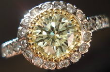 SOLD...Halo Diamond Ring:.95ct EXCELLENT Cut Grade GIA Y-Z Round Diamond R2751