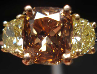 Three Stone Diamond Ring: 1.76ct Fancy Orange-Brown Cushion Fancy Yellow Half Moon Diamond Ring R2648
