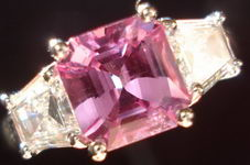SOLD....Pink Asscher Sapphire and Trapezoidal Diamond Ring R2787