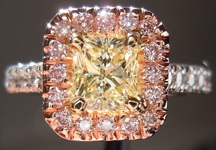 SOLD.....Pink Diamond Halo Ring: .71ct Natural Light Yellow Radiant Floating Halo Diamond Ring R2491