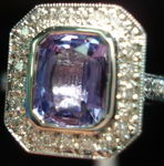 SOLD.....Sapphire Diamond Ring: Purple 1.65ct Halo Sapphire Diamond Ring R2788