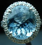 SOLD......Gemstone Ring: Large Aquamarine diamond halo ring R2782