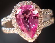 SOLD....Sapphire Halo Diamond Ring: Hot Pink Pear Shape Surrounded by Diamonds Split Shank R2789