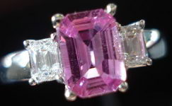 SOLD....Sapphire Diamond Ring: Hot Pink Sapphire colorless Diamonds - all emerald cut R2790