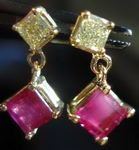 SOLD....Diamond and Ruby Earrings: 1.04tw Ruby Square .25ct Yellow Princess Cut Diamonds