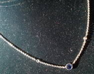 Sapphire and Diamond Necklace: Bezel set .44ct Sapphire  SO2573