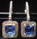 SOLD.... Sapphire Asscher Cut Halo Earrings; 2.26ct Tw Periwinkle Blue Gorgeous R2818