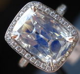 SOLD....Halo Diamond RIng: 3.05 Antique looking Cushion- Is it purple? Platinum R2823