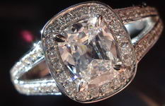 SOLD....Halo Diamond Ring: .78 F/VS2 GIA Cushion Diamond Split Shank Halo R2830