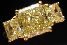 SOLD....Three Stone Diamond Ring: 1.83ct Fancy Light Yellow VVS2 GIA Radiant- 3.00ct Tw R2831