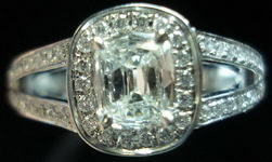 SOLD...Halo Diamond RIng: .42ct Daussi Cushion Platinum Split Shank Trade up special R2837