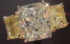 SOLD....Three Stone Diamond Ring: 3.03ct K/SI2 Radiant Diamond GIA Yellow Side Radiants R2852