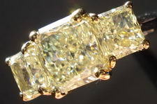 SOLD...Three Stone Diamond Ring: 1.79ct Y-Z Light Yellow Radiant- with natural yellow side diamonds R2795