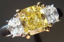 SOLD....Three Stone Diamond Ring: 1.47ct Fancy Brownish Yellow Radiant Diamond Half Moon Sides R2851