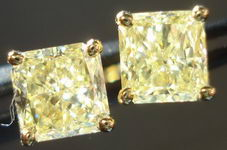 SOLD....Diamond Earrings: 1.40ct tw Light Yellow Radiant Studs 18kt YG R2841