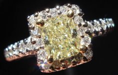 SOLD....Halo Diamond Ring: .75ct Natural Light Yellow Radiant Cut- Really well cut lemonade R2847
