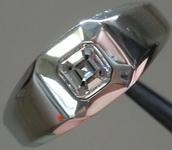 SOLD...Men's Diamond Ring: D/Internally Flawless Asscher Heavy Platinum Ring GIA R2865