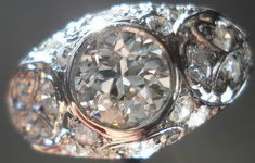 SOLD....Vintage Jewelry: .87ct OEC Diamond Platinum Setting Art Deco Era R2875