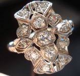 SOLD.....Vintage Jewelry: Transitional and single cut platinum diamond ring- lovely R2881