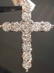 SOLD... Diamond Cross Necklace: 2.05ct Great Cut makes Great Sparkle R2888