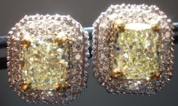 SOLD.....Halo Diamond Earrings: 3.06ct Light yellow Cushion Diamonds R1715