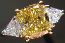 SOLD.....Three Stone Diamond Ring:  1.64 Fancy Brownish Yellow Cushion- GIA Step Cut Shields, look like Trills plat R2959