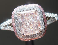 Pink Diamond Ring: 1.02ct Fancy Light Orangey Pink Radiant R2727