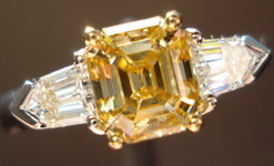 SOLD....Three Stone Diamond RIng: 1.07 Fancy Brown Yellow Asscher-like Emerald Diamond- tapered bullet Ring R2980