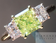 "Green and Pink Diamond Ring: .97ct Fancy Greenish Yellow Radiant Diamond GIA Three Stone ""Uber"" Ring R2991"