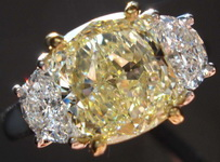 SOLD....Three Stone Diamond Ring: 2.01 Y-Z Light Yellow Cushion Half moon Ring GIA BEAUTIFUL! R2996