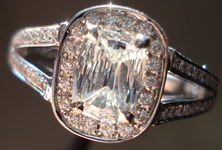 SOLD.....Halo Diamond RIng: .58ct Daussi Split Shank Cushiono RIng- look like a lot! R3008