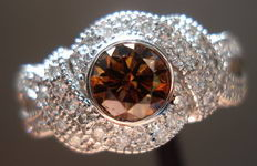 SOLD....:Halo Diamond Ring .76 Natural Brown Round Diamond Microset ring-Trade up special R2190