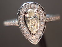 SOLD......Halo Diamond Ring: .30ct Pear Shape Daussi 18kt White gold R3055