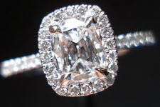 SOLD....Halo Diamond Ring: .52 D/VVS2 Cushion Daussi Platinum Halo RIng GIA Diamond Dossier R3062