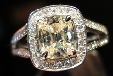 SOLD.....Halo Diamond Ring: 1.11 Slightly tinted Daussi Cushion Split Shank Platinum Ring R3067