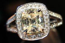 SOLD.....Halo Diamond Ring: 1.11 Slightly tinted Daussi Cushion Split Shank Platinum Ring R3067