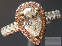 SOLD....Diamond Halo Ring: .62ct Pear Shape G/SI2 Pink Diamond Halo Ring Sam Spade Special R3102