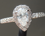 SOLD.... Diamond Ring: .47ct F/SI1 Pear Shape Diamond Hand Forged Halo Ring R3104