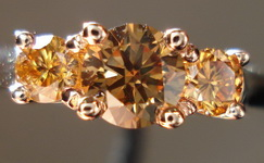 SOLD....Three Stone Diamond RIng: .70ct tw All Brown Diamonds Rose Gold R3083