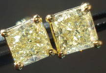 SOLD....Diamond Earrings: 1.44ct TW Natural Light Yellow Studs 18kt yellow gold R2843