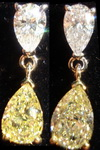 SOLD.....Diamond Dangle Earrings: 2.21ct tw Natural Yellow and Colorless Pear Shape Diamond R3115