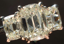 SOLD...Three Stone Diamond RIng: 1.09 ctr, 1.05tw Sides Daussi Cushons in Platinum SPECIAL R3143