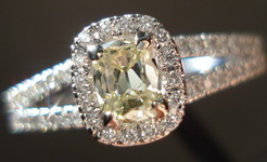 SOLD....Halo Diamond Ring: .30 Faint Yellow Daussi Cushion in elaborate dainty setting R3144