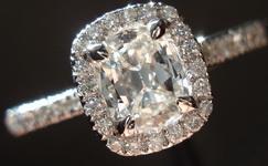 SOLD....Halo Diamond RIng: .53ct Daussi Cushion GIA H/SI2 Platinum Ring R3149