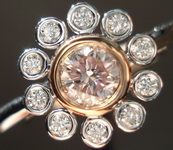 SOLD....Flower Diamond Ring: .26ct Light Pink Round Diamond GIA In daisy ring R2985