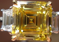 SOLD.....Three Stone Diamond RIng: 6.01ct Fancy Vivid Yellow VVS2 Asscher Ct Diamond REMARKABLE