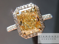 "SOLD....Yellow Diamond Ring: 1.95 Y-Z VVS2 Radiant Cut GIA ""Uber"" Single Cut Diamond Halo Ring R3154"