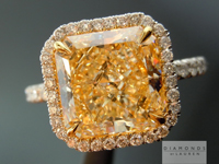 "SOLD....Yellow Diamond Ring: 3.31ct S-T VS1 Radiant Diamond GIA ""Uber"" Halo Ring R3157"